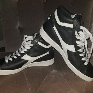 Unisex black and white high tops
